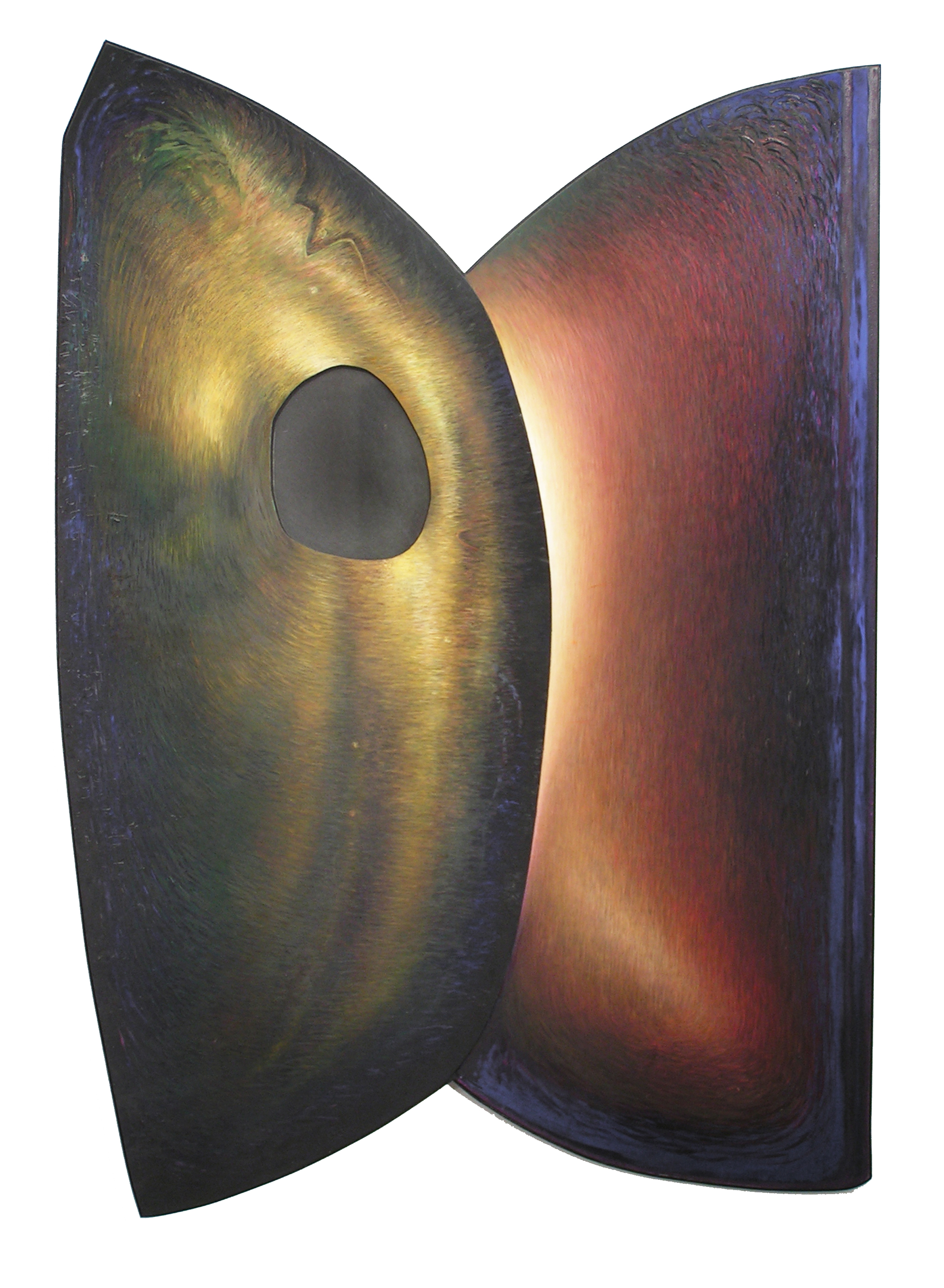 Thee,  1995  Oil paint, pumice, oil pastel, poplar, mirror, musilim 68 x 50 x 3 inches