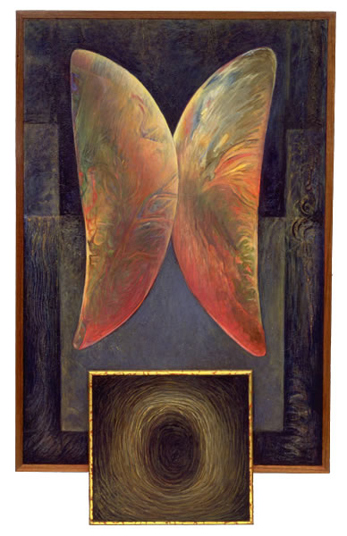 Wings IV,  1994  Oil paint, pumice, oil pastel, poplar, canvas 36 x 24 x 1.5 inches