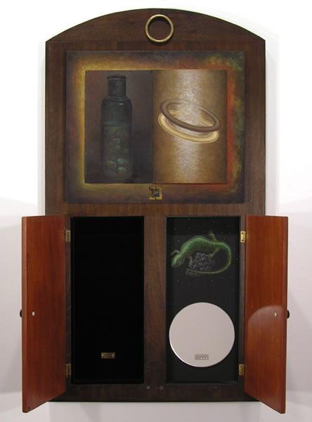 Yes - No,  open, 1995  Oil paint, oil pastel, poplar, velvet, mirror 36.5 x 20 x 3 inches