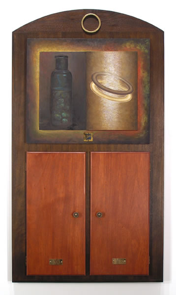 Yes - No,  1995  Oil paint, oil pastel, poplar, velvet, mirror 36.5 x 20 x 3 inches