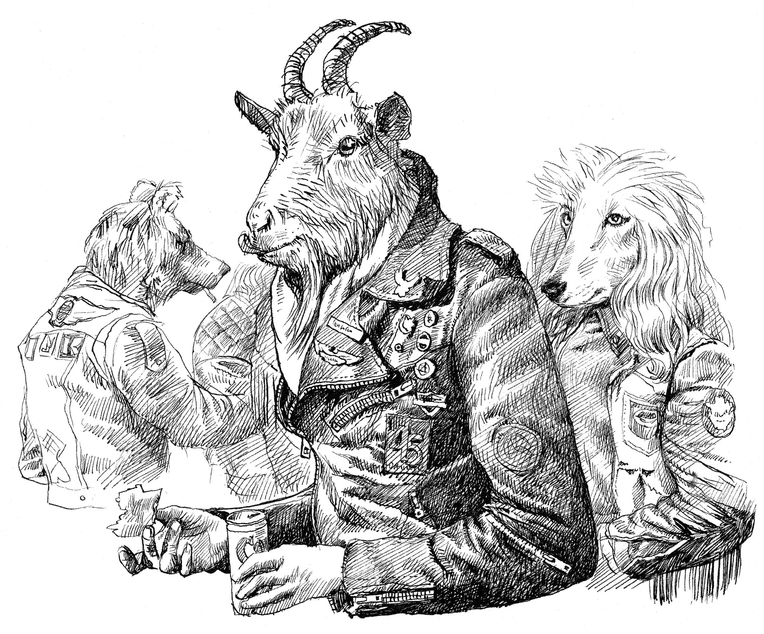 'Biker Goat and Friends'