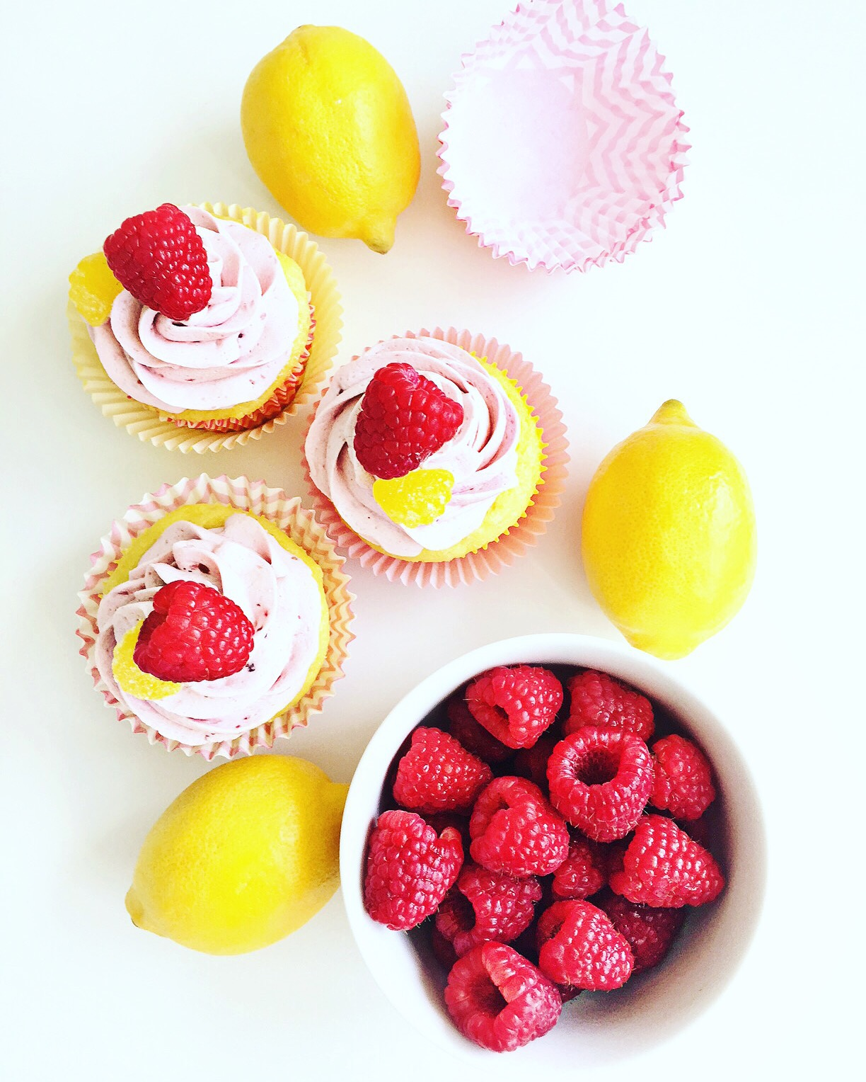 Raspberry lemon cupcakes with raspberry compote filling