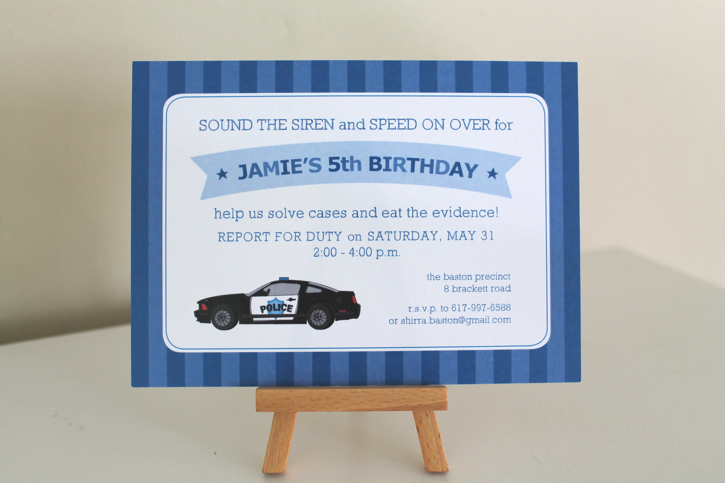 police car invitation