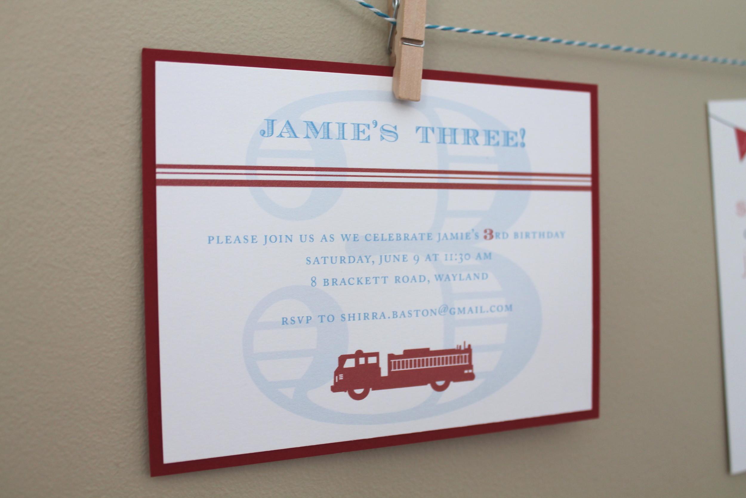 firetruck invitation