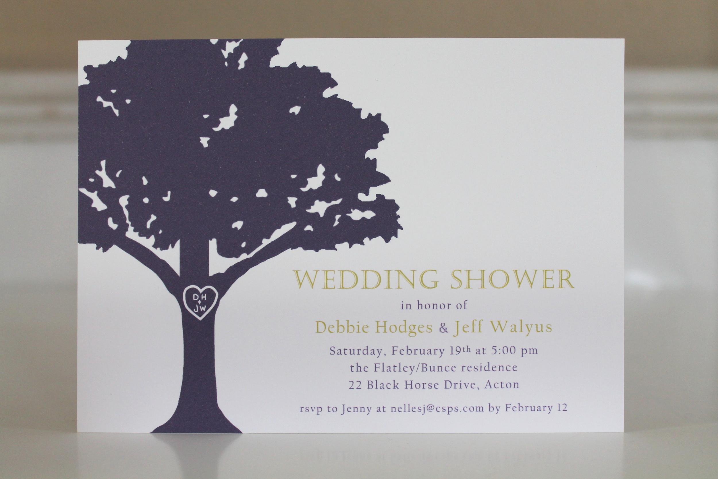 oak tree shower invitation