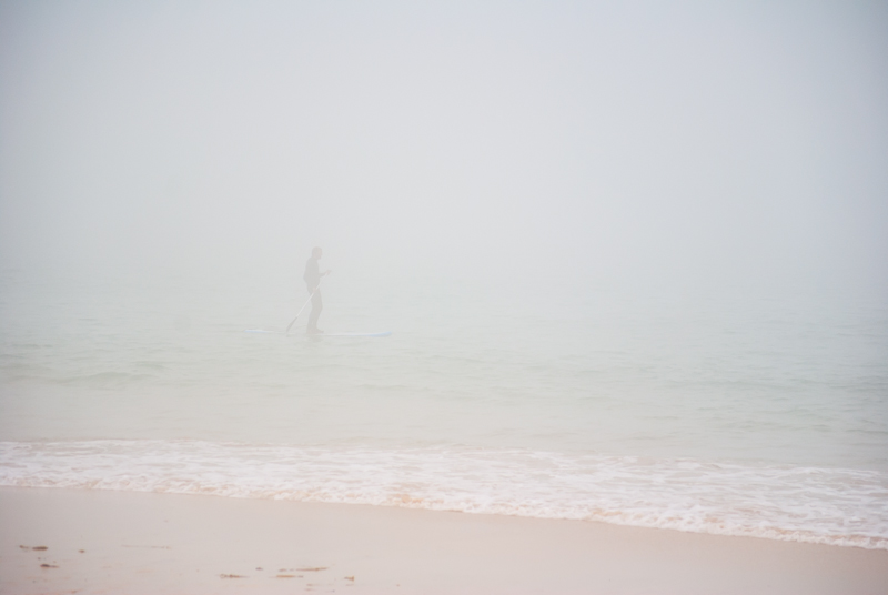 Surfer in the mist - Cornwall
