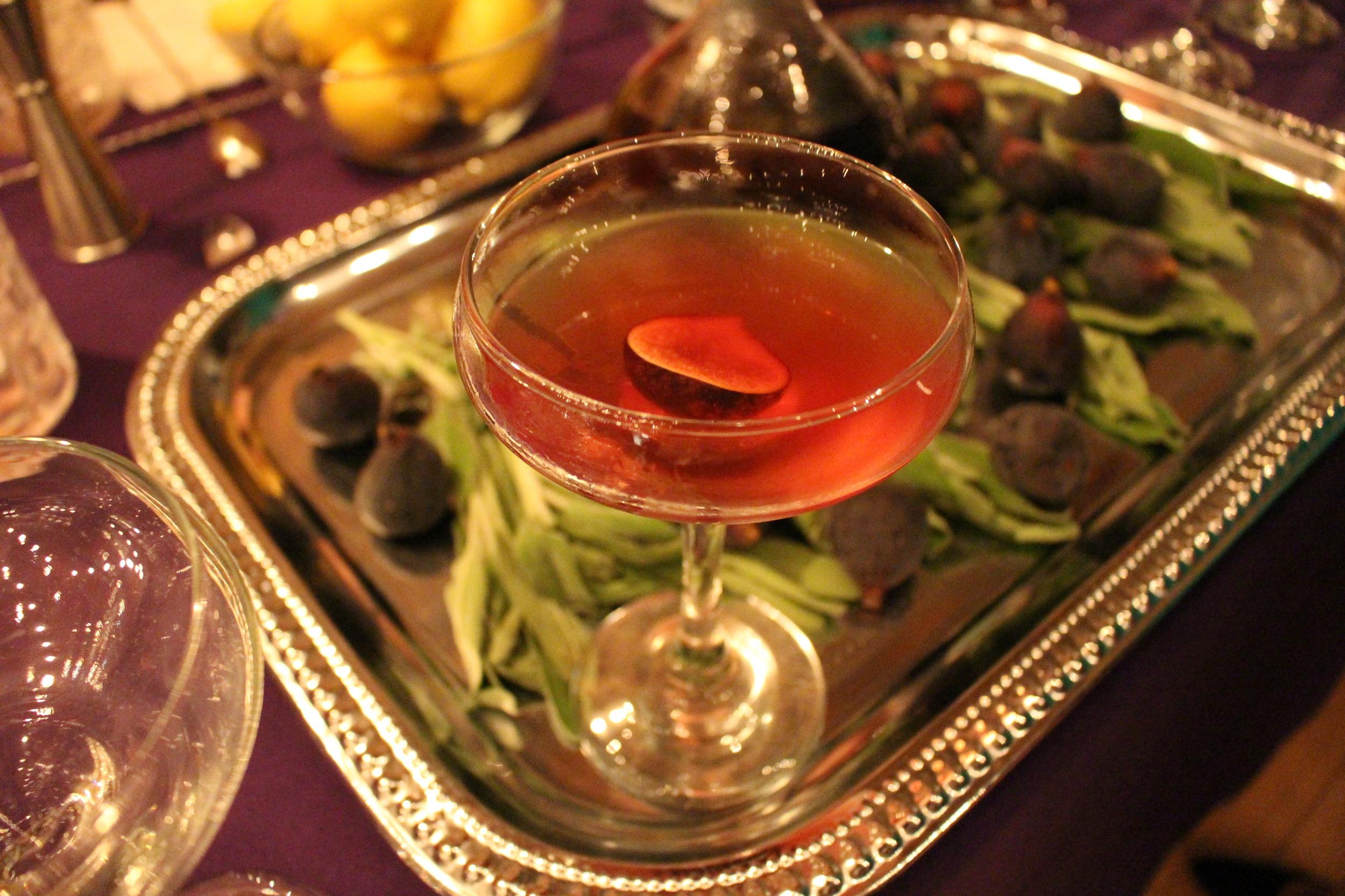 Beautiful Figgy Cocktail By Gina Chersevani of Buffalo and Bergen