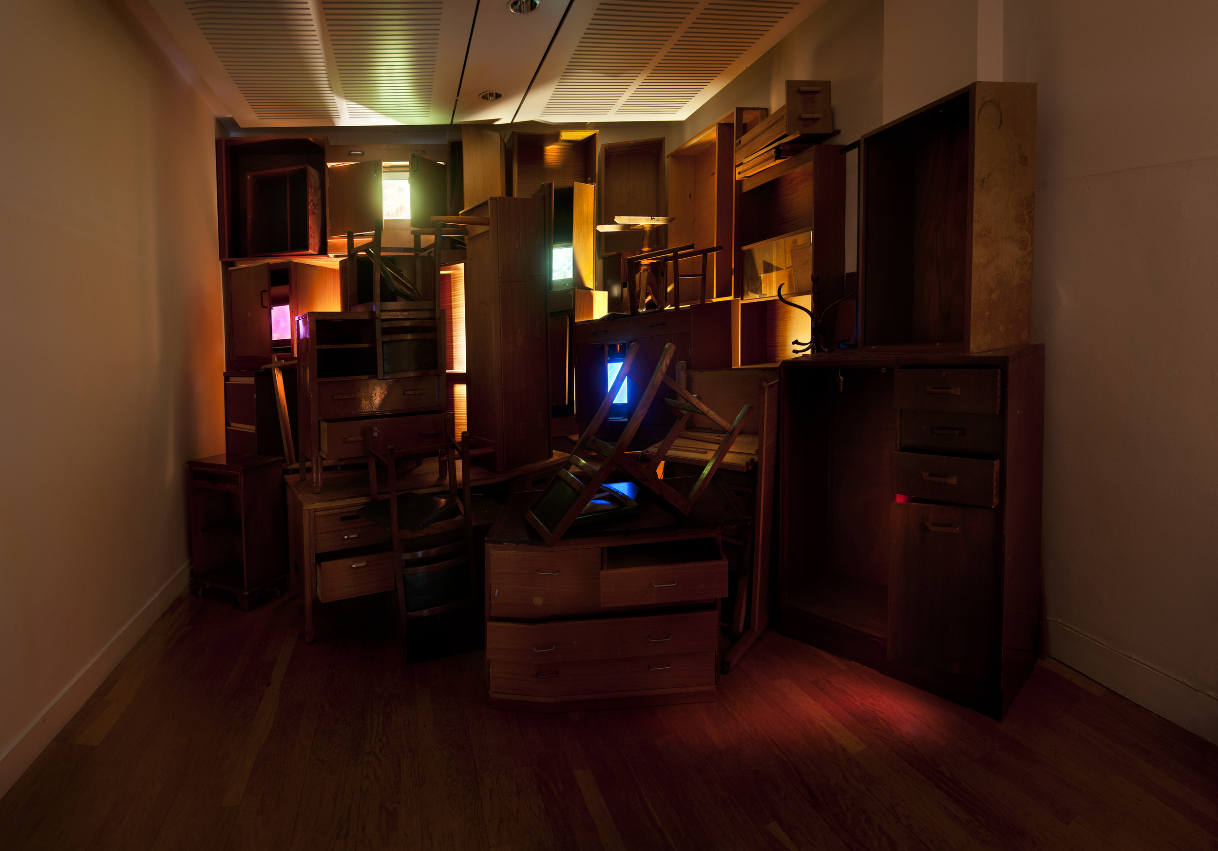 8_ Liz West_The Visual Grey_Video Installation (wooden furniture, colour video on five screens), 2012.jpg