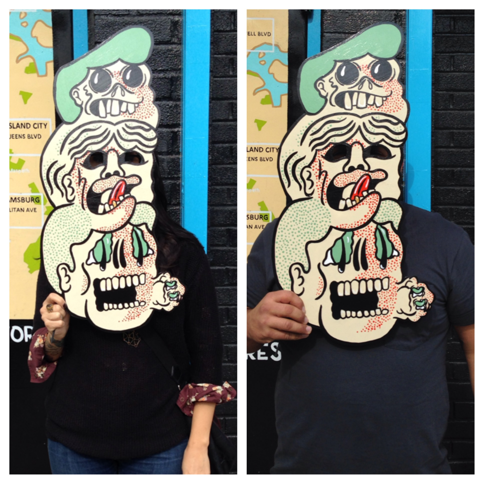 Halloween Mask Acrylic on foam core Made for mask making contest at Artist & Craftsman Supply in Williamsburg....we didn't win, but we had a lot of fun making it! Can't wait for next Halloween!  2014