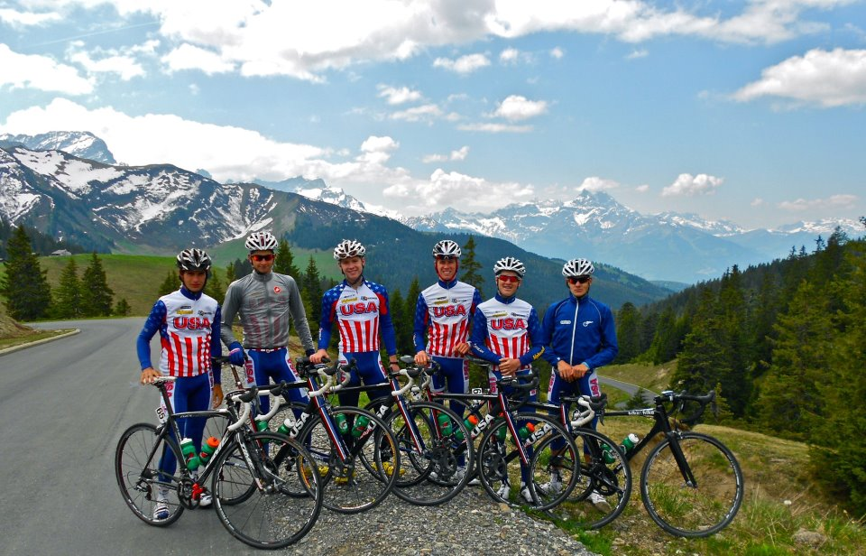 [second from left] Climbing Camp (US National Team) Col de la Croix, Suisse, before Tour du Pays de Vaud. We would go on to claim several stages, the Green, and the Yellow Jersey - 2012