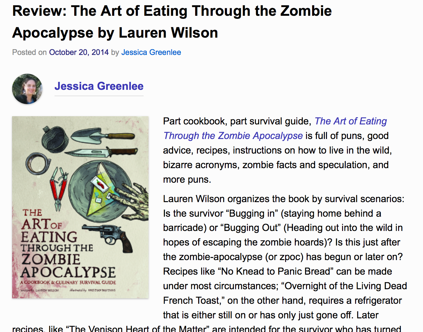 Review of The Art of Eating Through the Zombie Apocalypse on FangirlNation