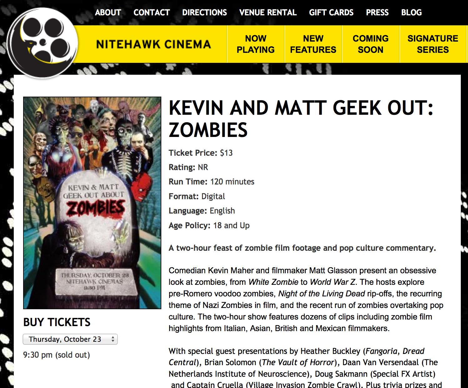 The Art of Eating Through the Zombie Apocalypse giveaway at Nitehawk Cinema.