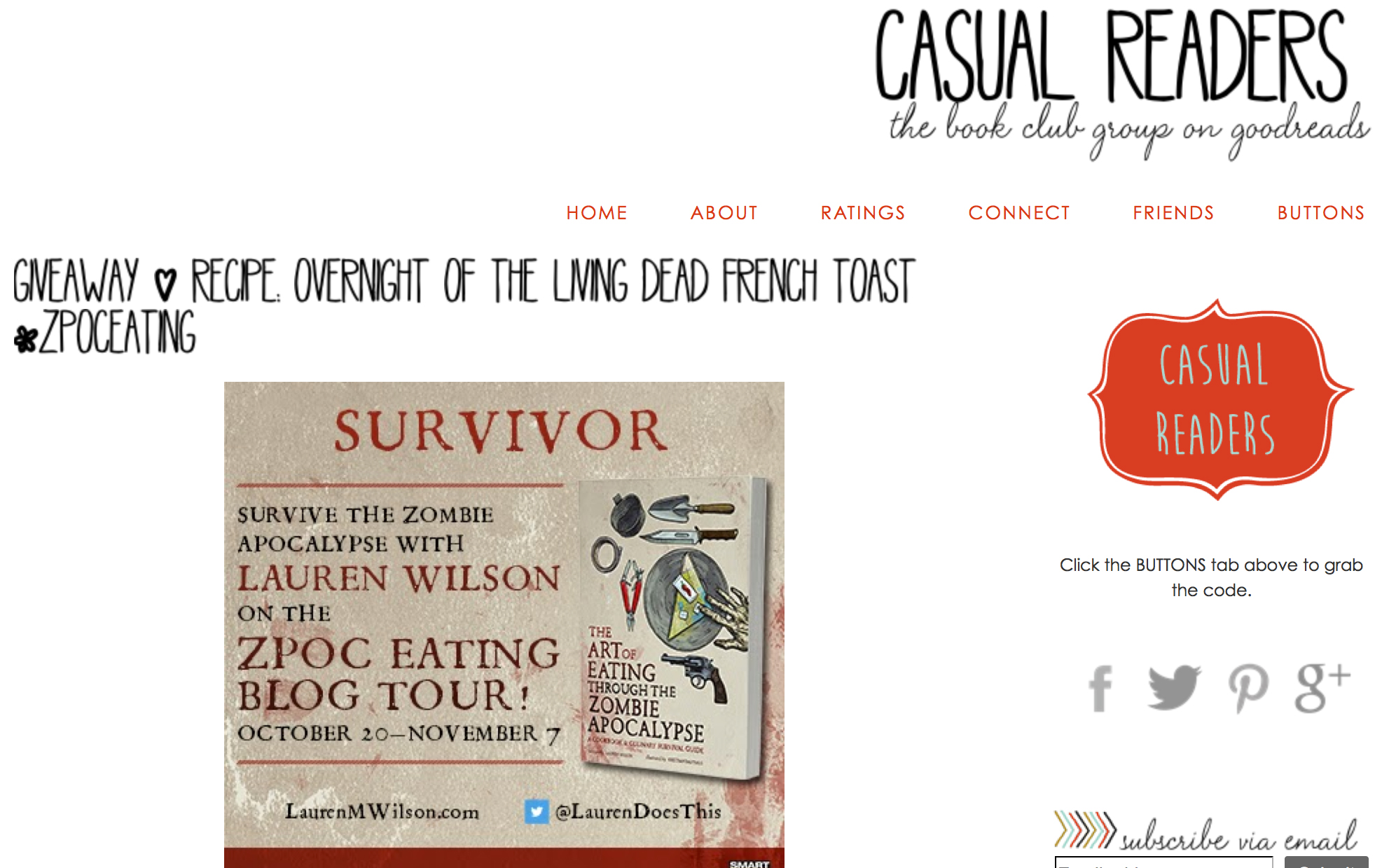 The Art of Eating Through the Zombie Apocalypse giveaway on Casual Readers!