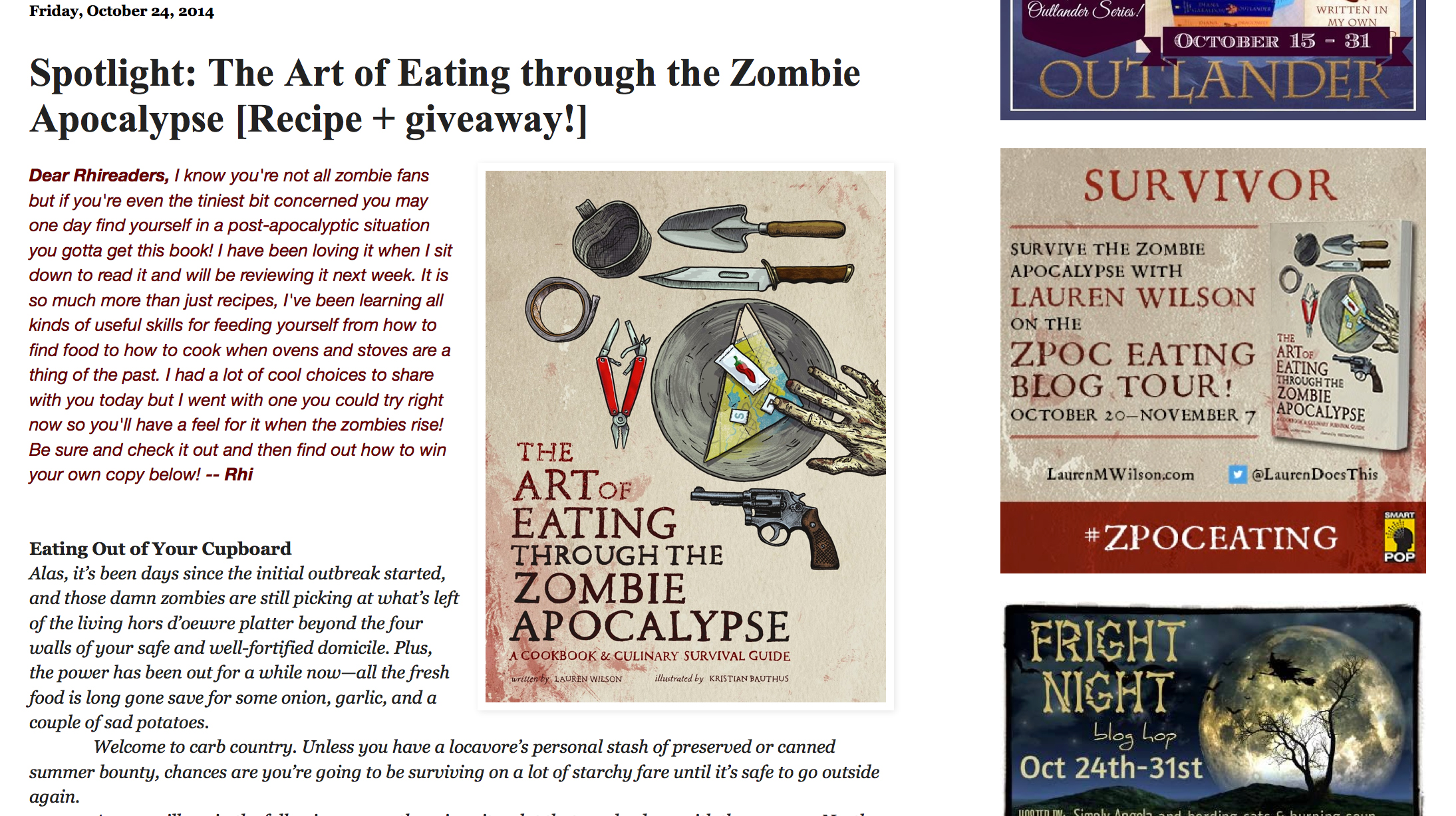 The Art of Eating Through the Zombie Apocalypse giveaway on RhiReading