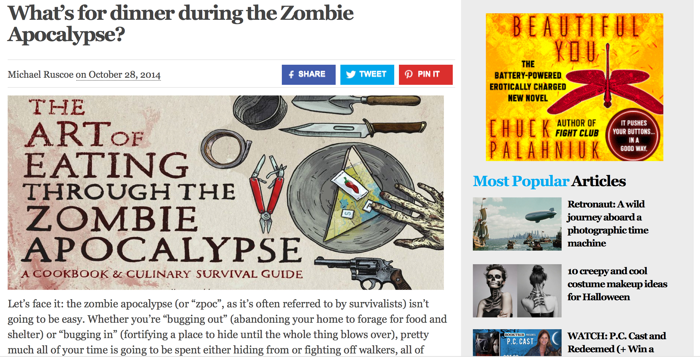 Review of The Art of Eating Through the Zombie Apocalypse on Booktirb.