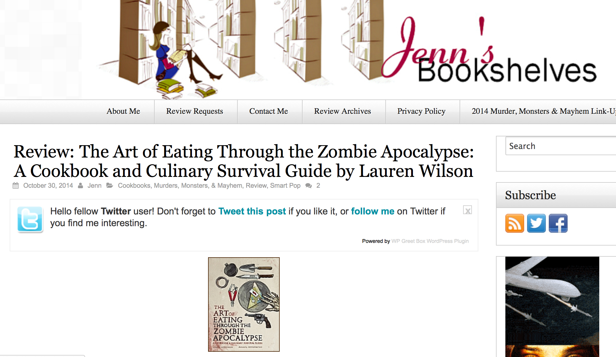 Review of The Art of Eating Through the Zombie Apocalypse on Jenn's Bookshelves.