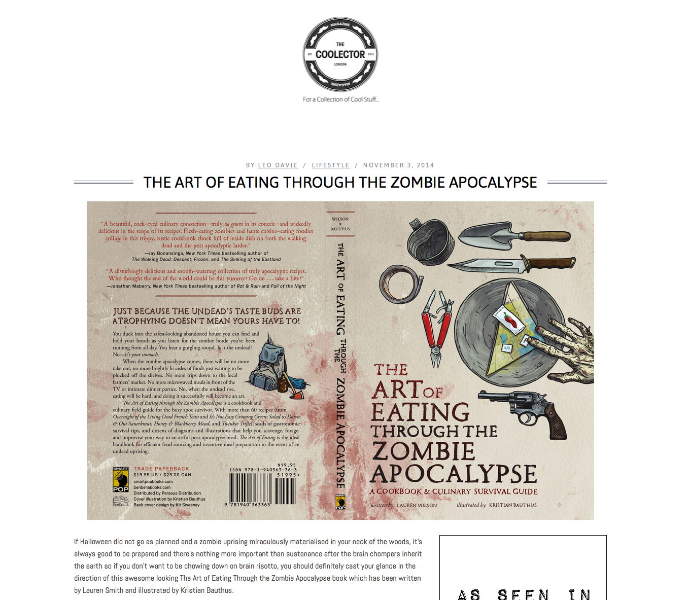 Review of The Art of Eating Through the Zombie Apocalypse on The Coolector