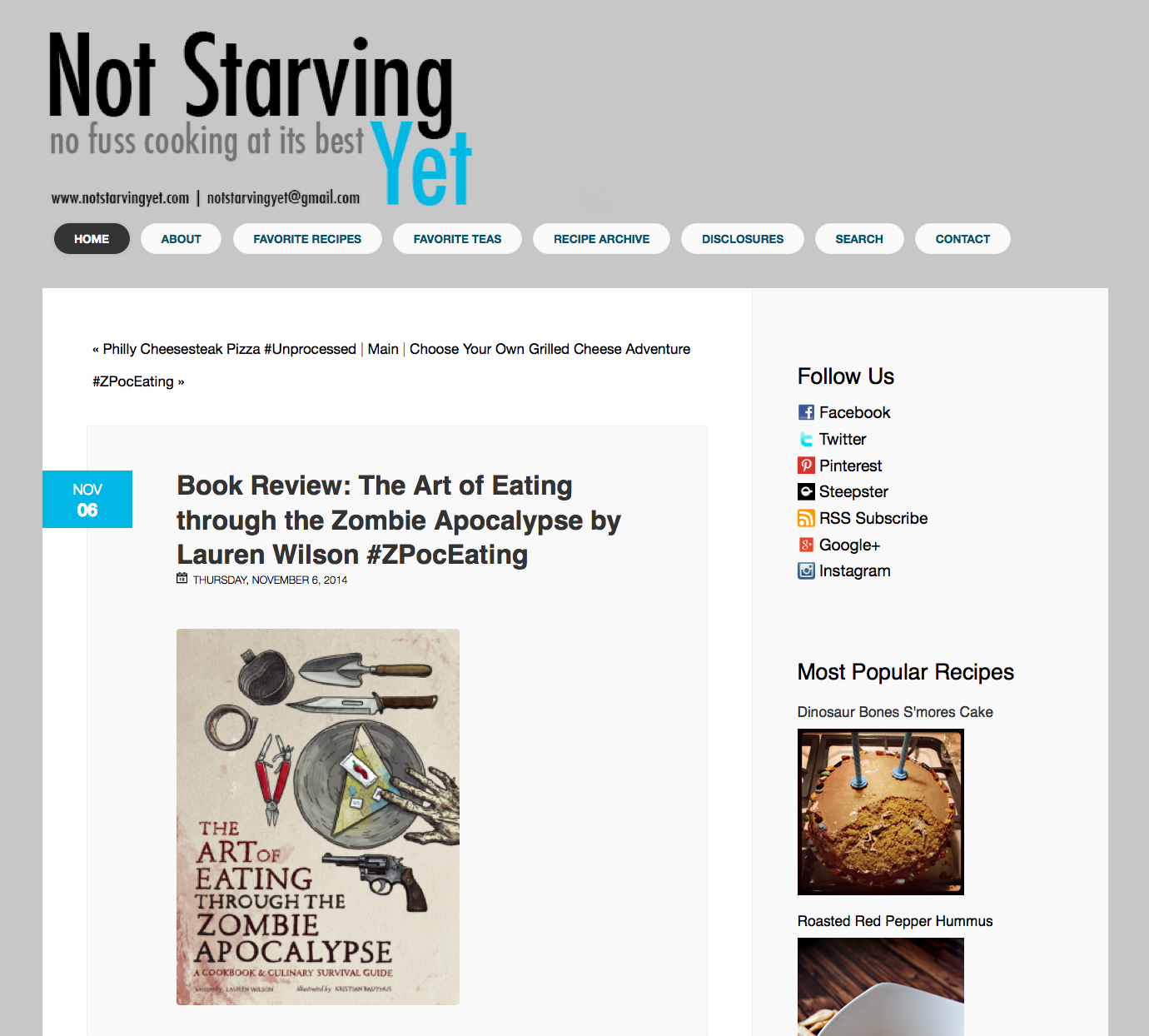 Review of The Art of Eating Through the Zombie Apocalypse on Not Starving Yet.