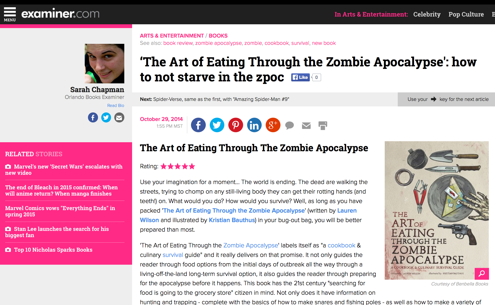 Review of The Art of Eating Through the Zombie Apocalypse on The Examiner.