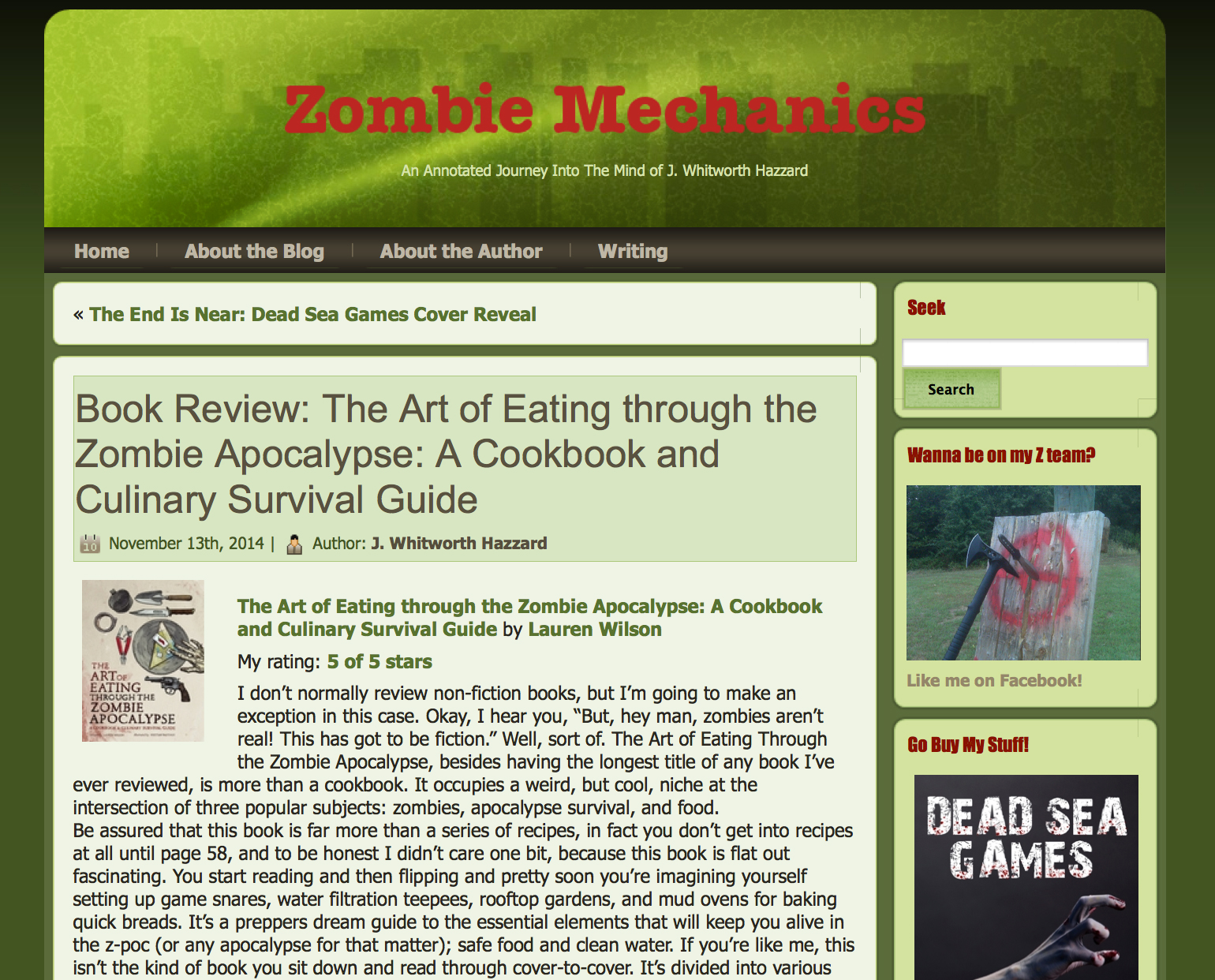 Review of The Art of Eating Through the Zombie Apocalypse by J. Whitworth Hazzard.