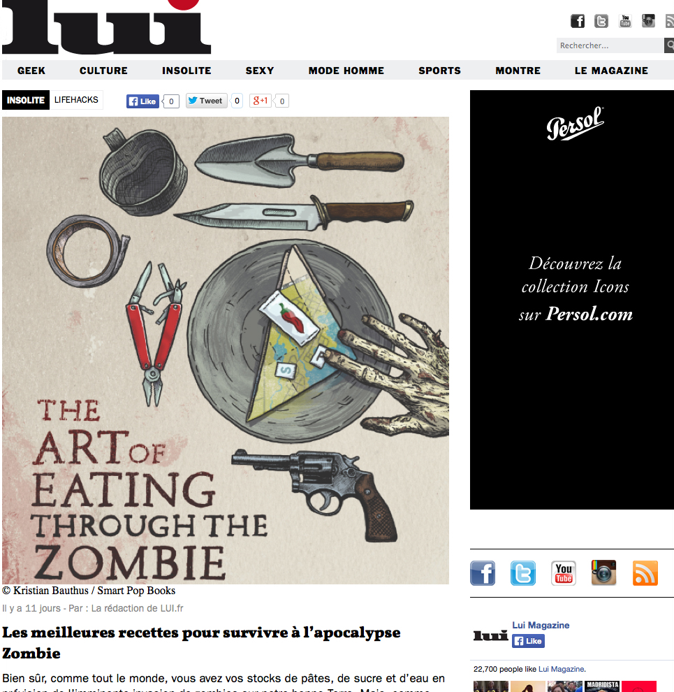 Review of The Art of Eating Through the Zombie Apocalypse in Lui Magazine