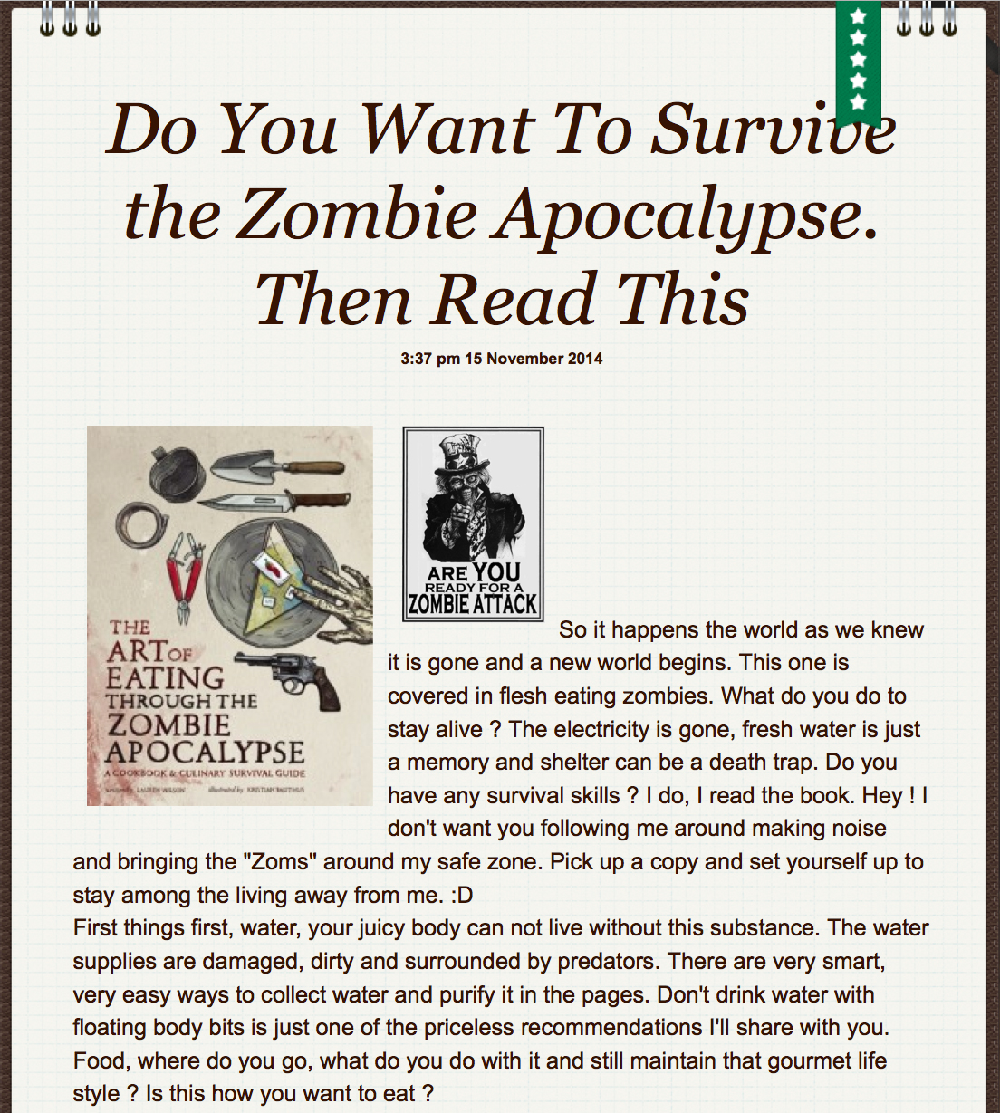Review of The Art of Eating Through the Zombie Apocalypse on YodaMom.