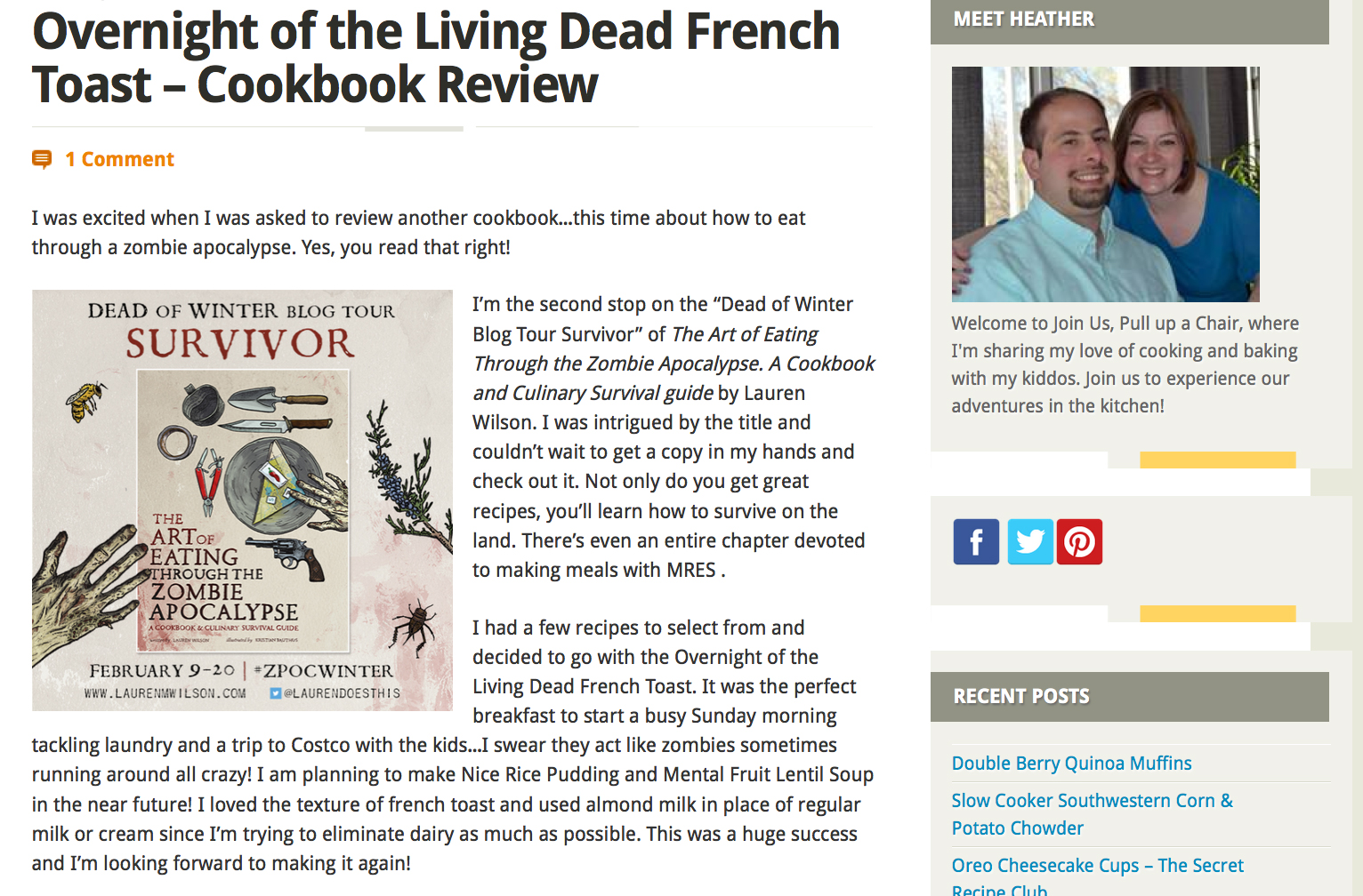 Review of The Art of Eating Through the Zombie Apocalypse on Join Us Pull Up A Chair.
