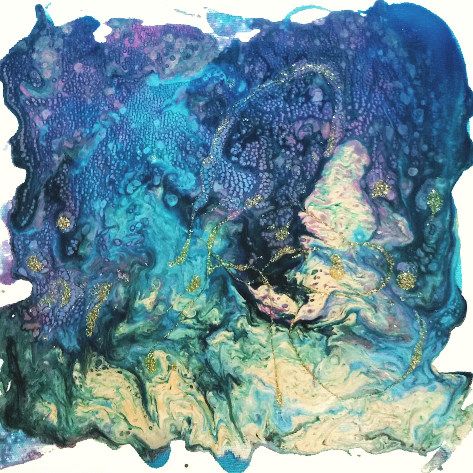 Pebeo Liquid Alkyd Oil paints: Vitrail, Vitrail Glitter, Fantasy Prisme and Fantasy Moon on canvas.
