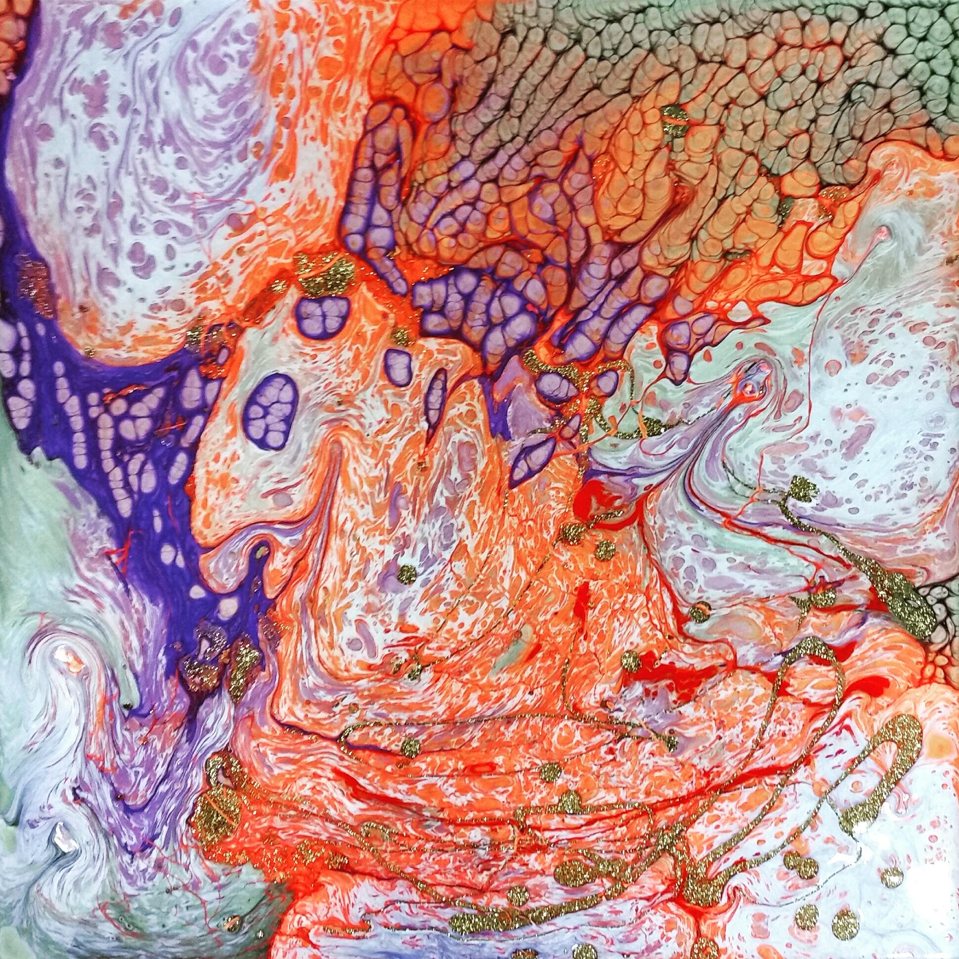 Pebeo Liquid Alkyd Oil paints  (Vitrail, Fantasy Moon, and Fantasy Prisme)  in a Pebeo Liquid Art Panel.