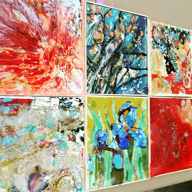 Paintings on canvas and liquid art panels.