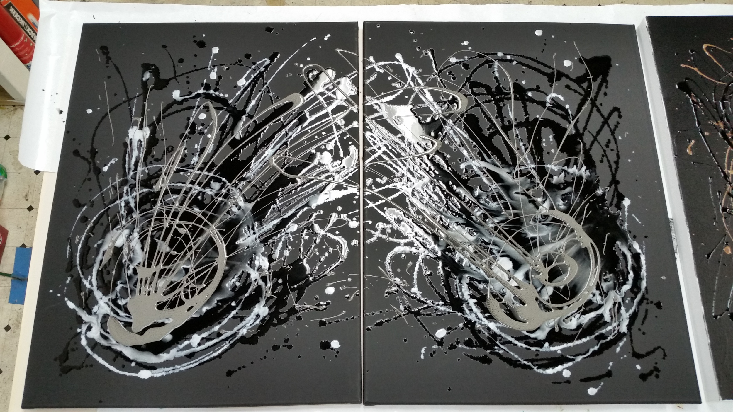 Black and Pearl Resin with Fantasy Prisme Diptych 24in x 36in