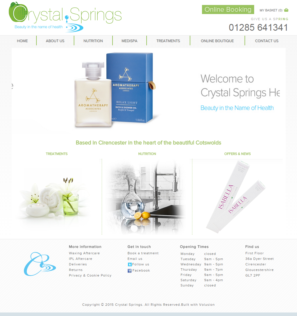 Crystal Springs Health & Beauty Website BEFORE