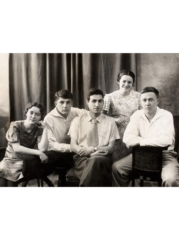 1.11 ┆   Graduation from Rostov University.   Left to right: Natalia Reshetovskaya, Nikolai Vitkevich,Kirill Simonyan, Lidia Ezherets, Aleksandr Solzhenitsyn. 31 May 1941