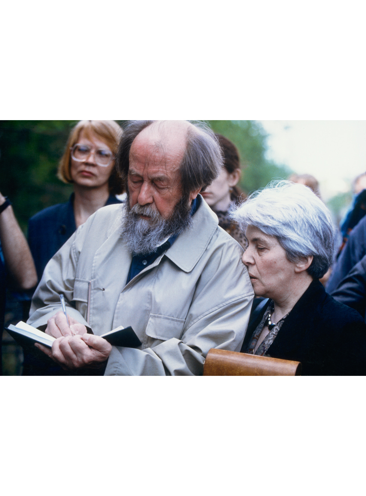 9.1 ┆   Aleksandr and   Natalia Solzhenitsyn, back on native soil.   Vladivostok, May  1994 Credit: De  Keerle ©  Sygma