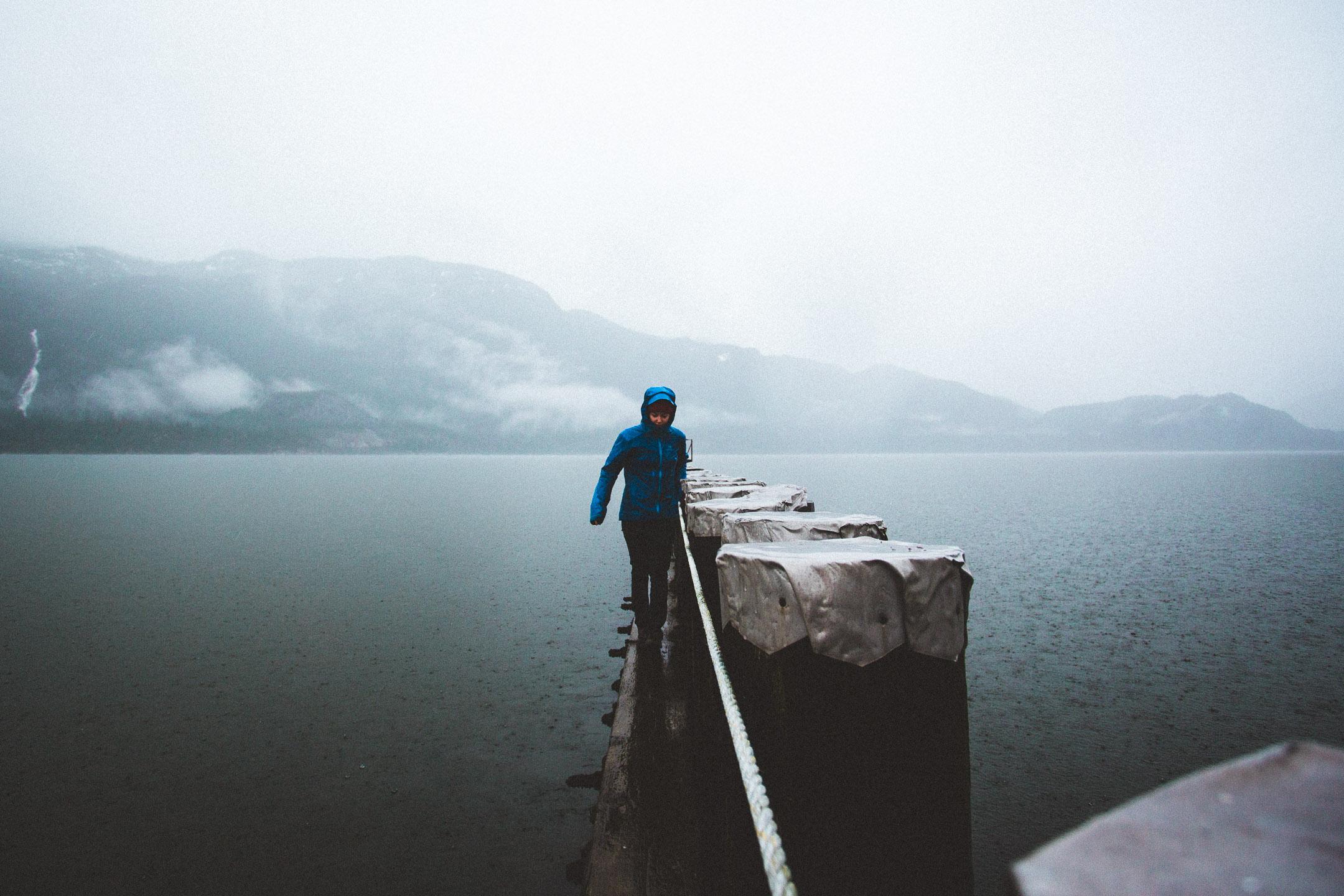 Hiker Balancing in the Rain.jpg