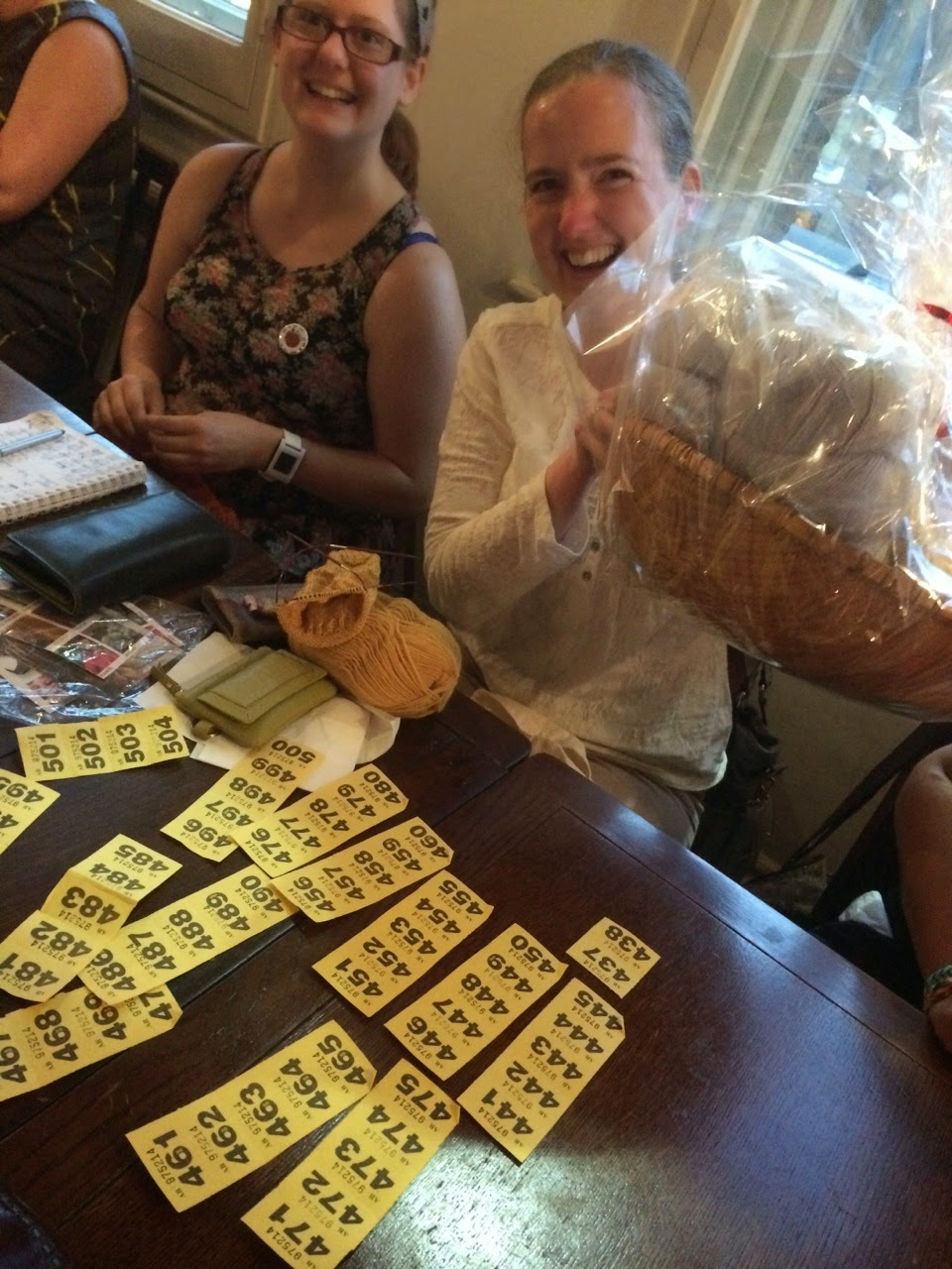 Look at all those tickets! Grand Prize raffle winner Kathryn knit an awful lot for Refuge - well done!