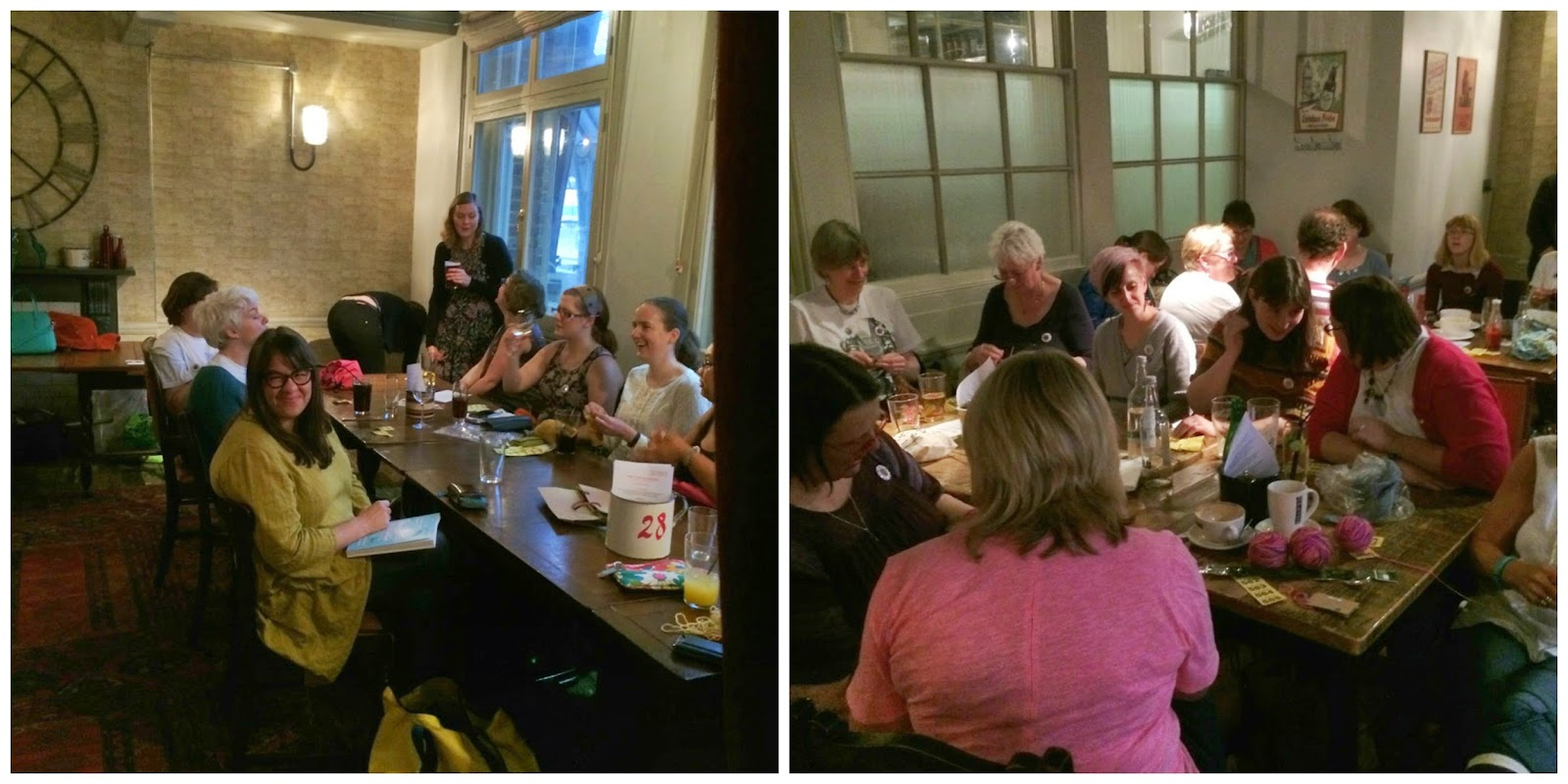 Lots of happy knitters and fibre enthusiasts knitting and chatting at the after-party