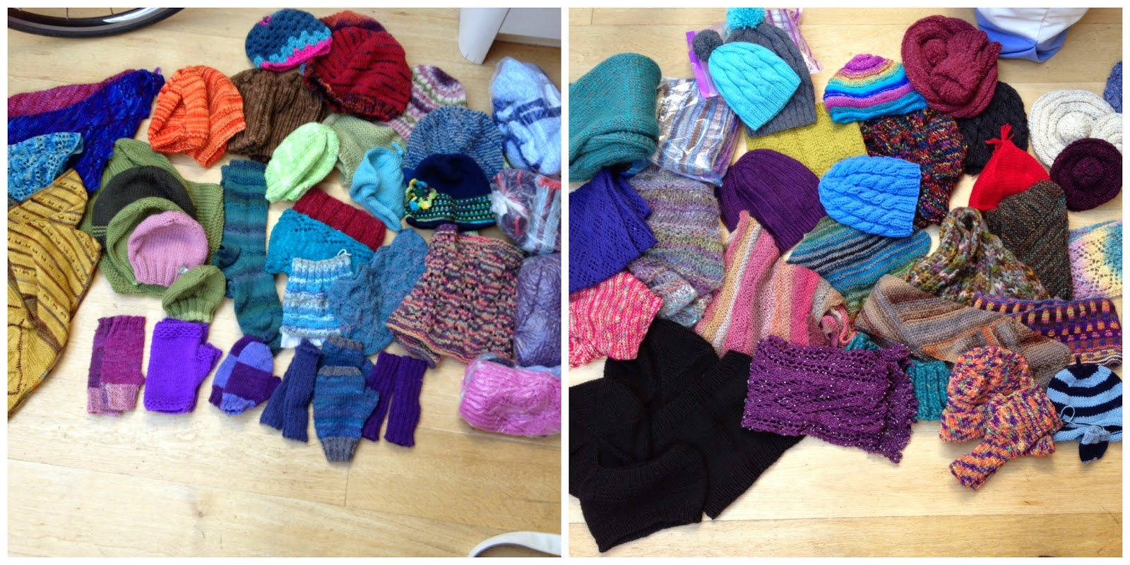 The incredible number of hand knits you helped us collect for Refuge - and this isn't even all of them!
