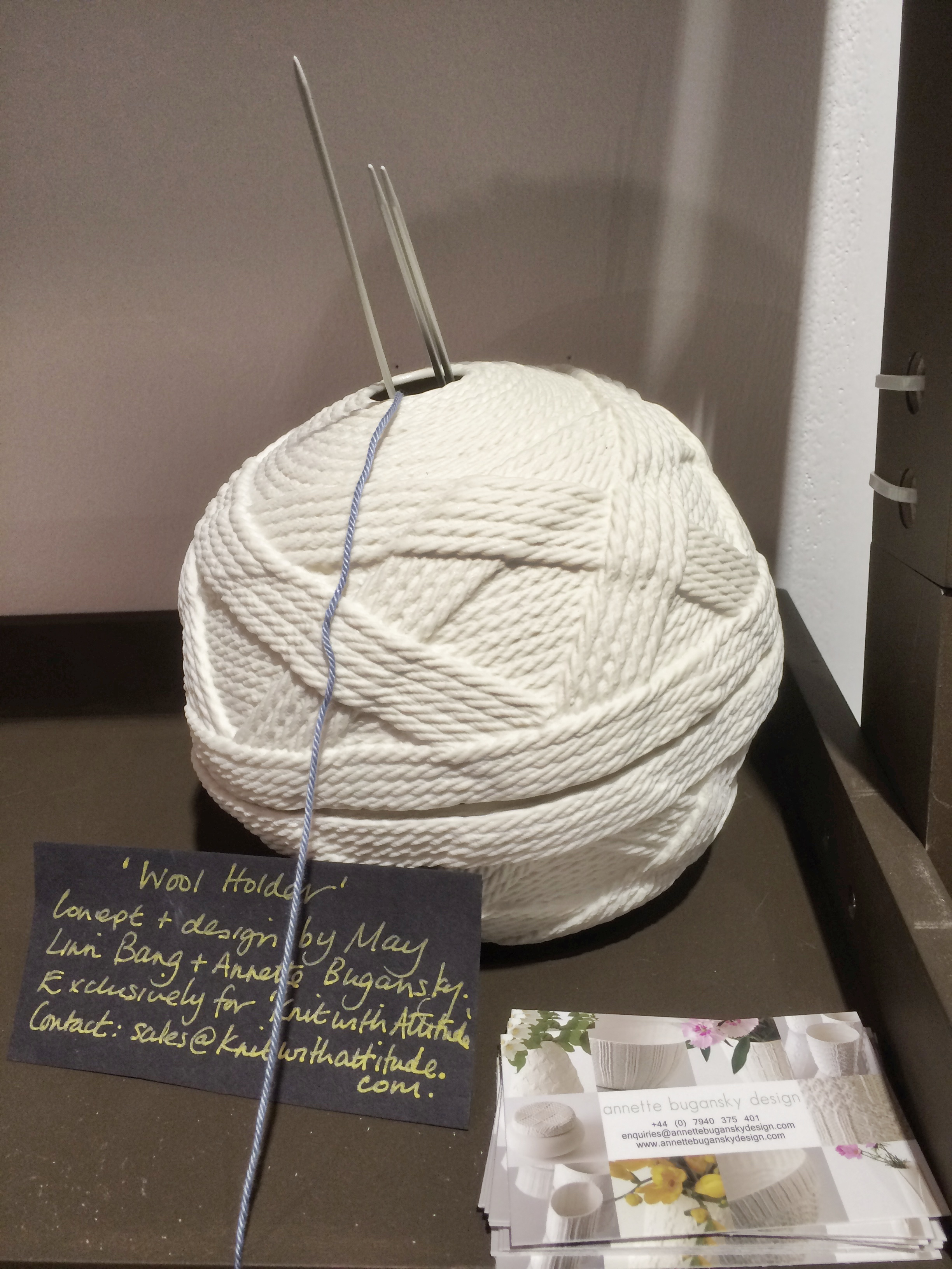 The yarn bowl collaboration between Annette Bugansky and Knit With Attitude - the concept piece seen here at the MADE London show.
