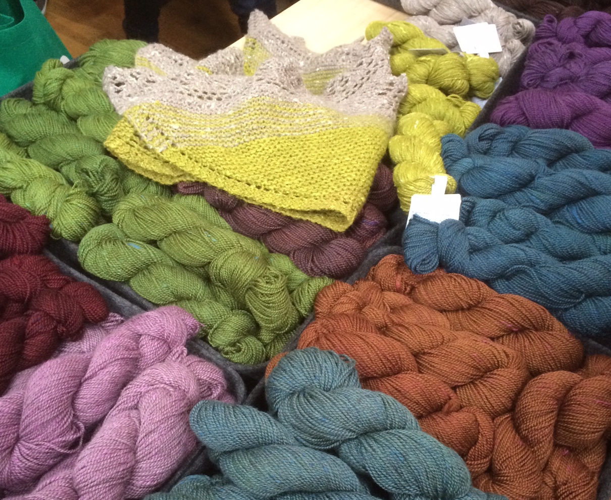Some of the gorgeous yarns on offer at Unravel. These beauties were on The Fibre Co. stand.