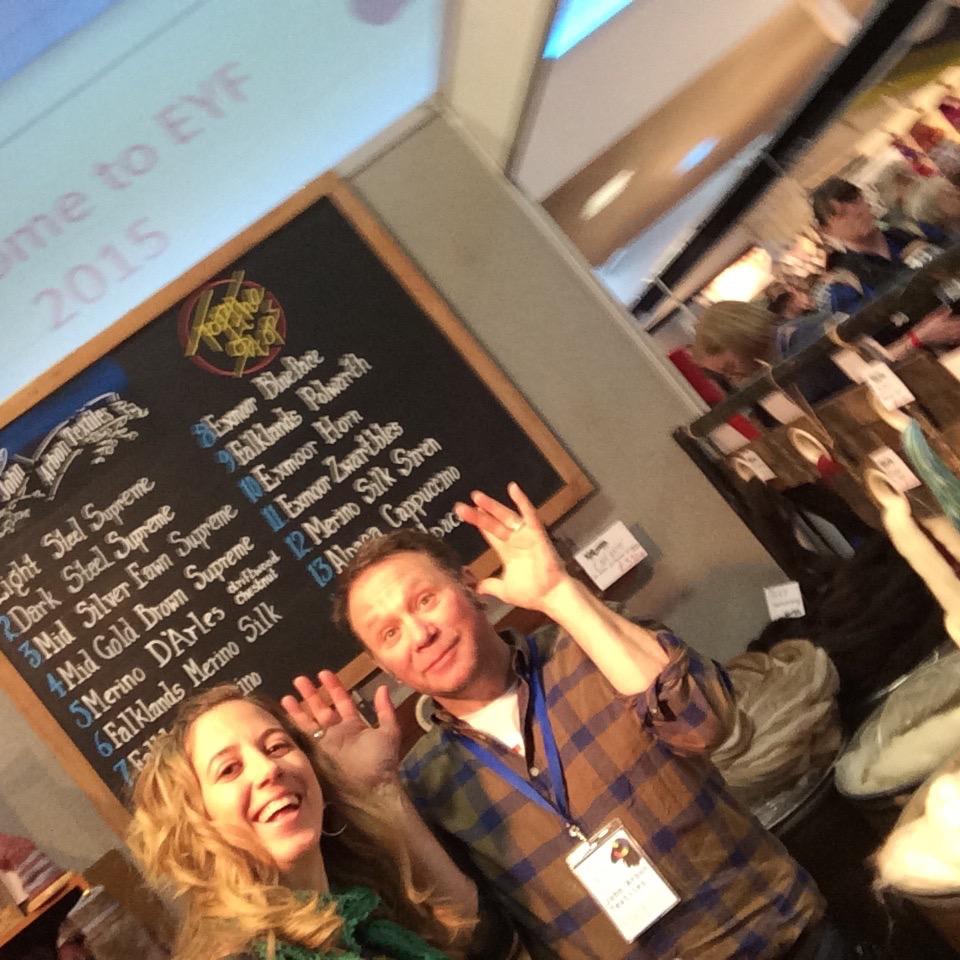 Holding up John Arbon with my selfie-stick at Edinburgh Yarn Festival.