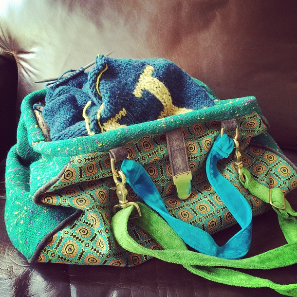 Allison's knitting bag that was to be her source of inspiration for the Knitsonik workshop - another time!