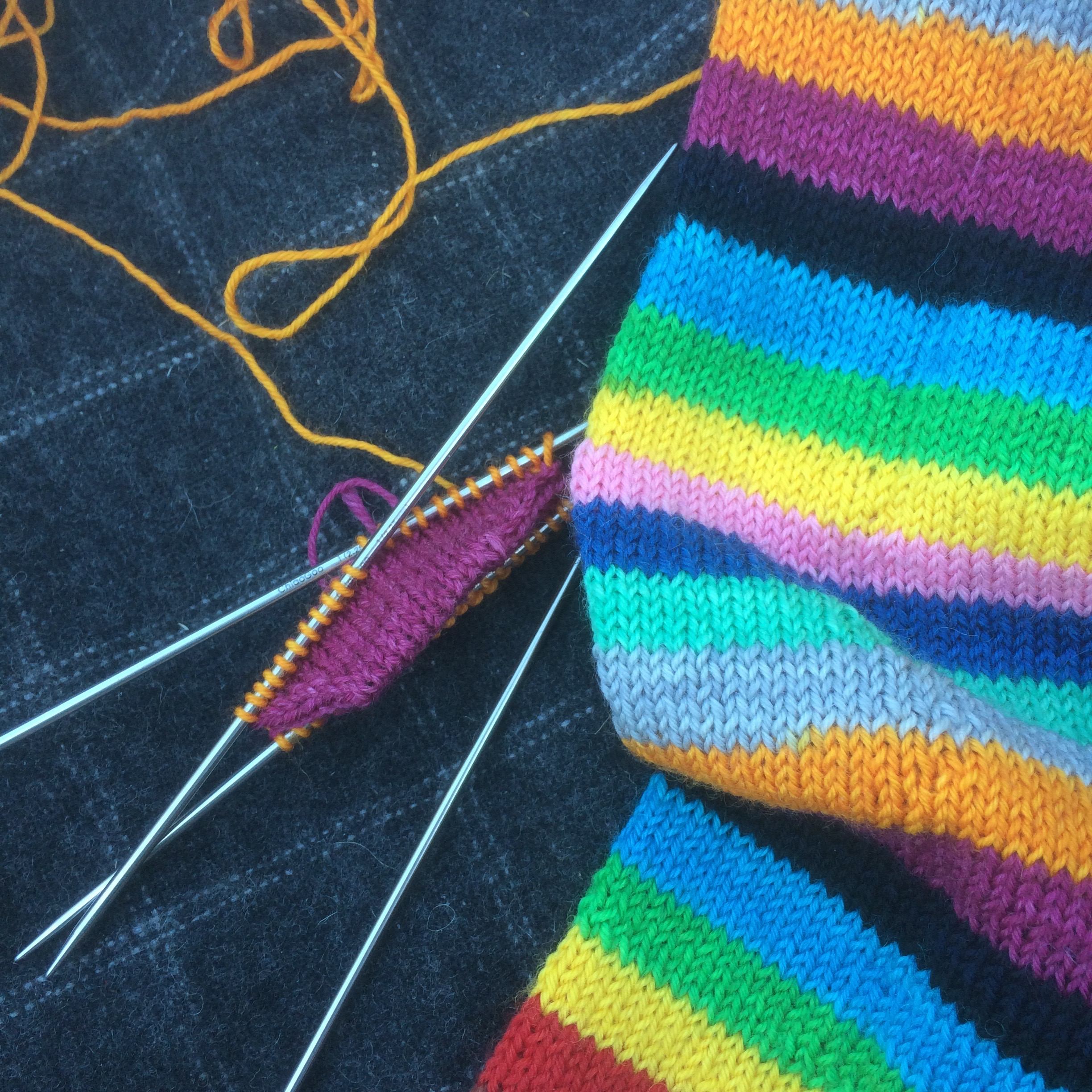 """Allison's Classic Toe Up socks by Kate Atherley in the Trailing Clouds colourway """"Mind the Gap"""""""