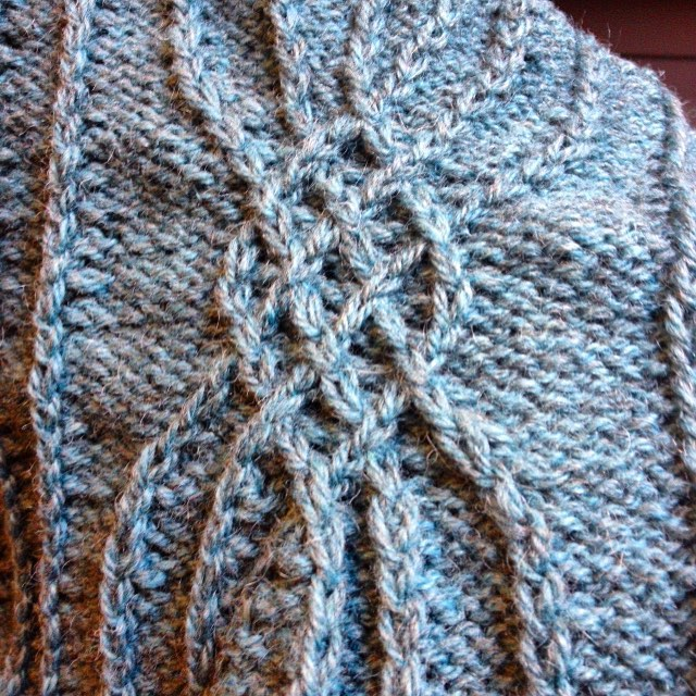 Mmmm... more cables! Rachel's Angostura vest in progress.