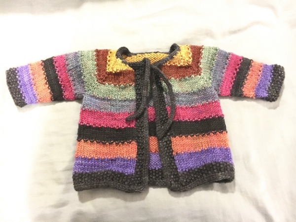 Allison recently finished the Tulip Cardigan for a lucky new baby!