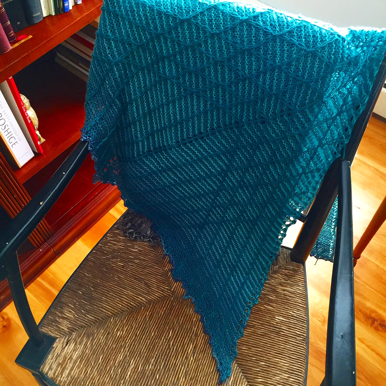 Rachel's Lambton Panes shawl is finished and glorious!