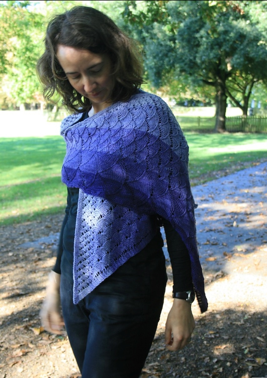 Louise wearing her lovely Siren Song shawl