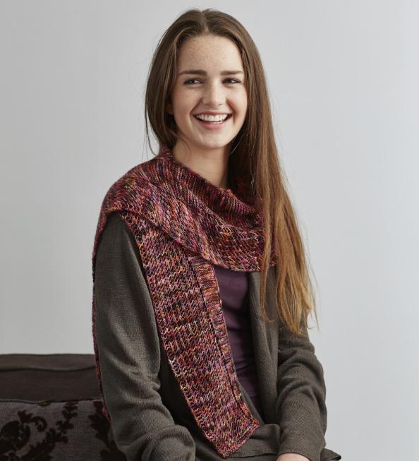 Trailblazer, also from Knit Play Colour, knit in Countess Ablaze Tia Merino.