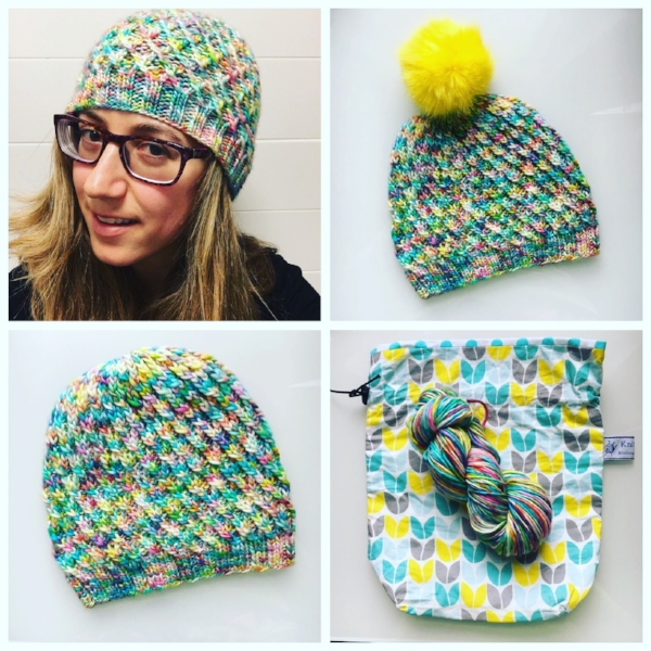 Allison has finally finished her Koolhaus hat. Knit in  JOMA Yarns  Mashmello Rino worsted weight in the Raygun colourway.