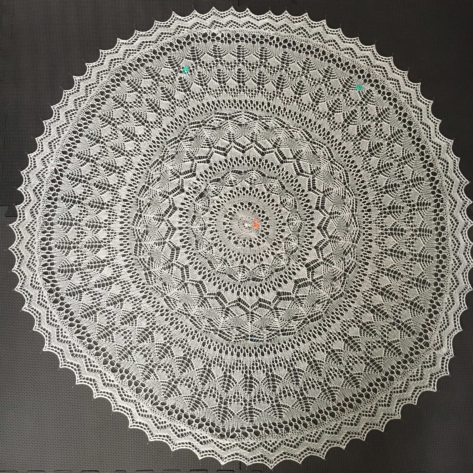 Allison's finished Lucca shawl out of Zealana's limited edition Pearl yarn